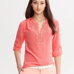 Milly for Banana Republic Coral Roll-Sleeve Top